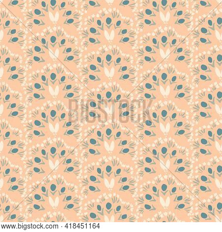 Abstract Peacock Floral Folk Seamless Vector Pattern. Painted Flowers Arranged To Form An Abstract P