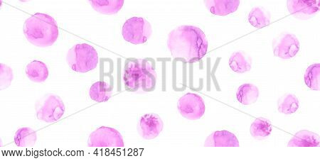 Seamless Painted Polka Dots. Drawn Circles Illustration. Pink Rounds Design. Abstract Painted Polka