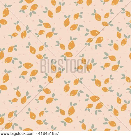 Lemon Drops Fruity Seamless Vector Pattern. Cute, Small Painted Lemons With Leaves Scattered In Yell