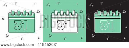 Set Calendar With Halloween Date 31 October Icon Isolated On White And Green, Black Background. Happ