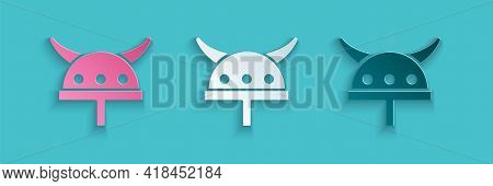 Paper Cut Viking In Horned Helmet Icon Isolated On Blue Background. Paper Art Style. Vector