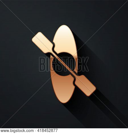 Gold Kayak And Paddle Icon Isolated On Black Background. Kayak And Canoe For Fishing And Tourism. Ou