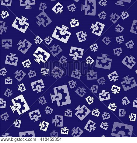 White Software, Web Development, Programming Concept Icon Isolated Seamless Pattern On Blue Backgrou