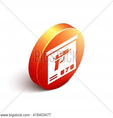 Isometric Military Ammunition Box With Some Ammo Bullets Icon Isolated On White Background. Orange C