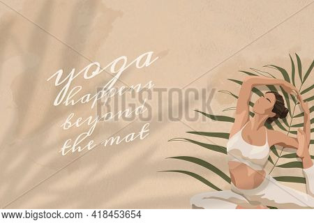 Inspirational quote with yoga happened beyond the mat text