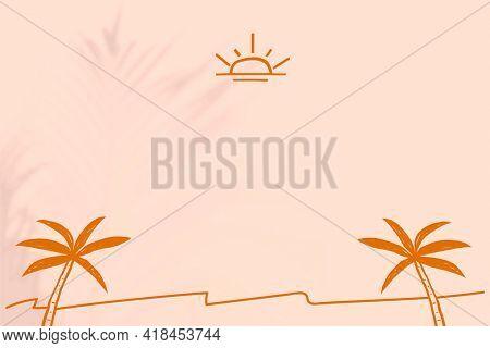 Summer beach border background with beige and orange doodles