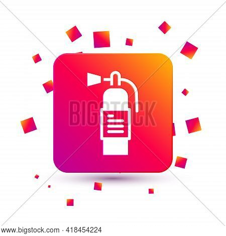 White Fire Extinguisher Icon Isolated On White Background. Square Color Button. Vector