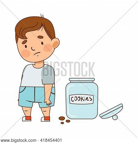 Cute Infant Boy With Sad Face Feeling Guilty Vector Illustration