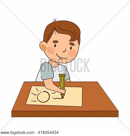 Cute Infant Boy Sitting At Table And Drawing With Pencil Vector Illustration
