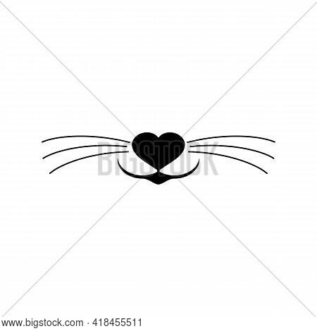 Cat Nose And Whiskers Vector Clipart And Drawing. Isolated Silhouette With Heart On White Background