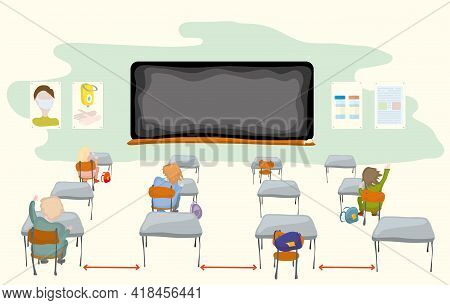 Keeping Distance By Students During Lectures, Against The Background Of A Blackboard And Information