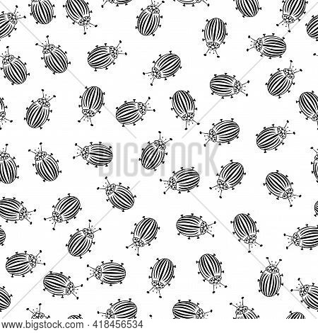 Seamless Vector, Many Striped Black Beetles On A White Background. Pest Attack Concept