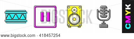 Set Drum, Pause Button, Stereo Speaker And Microphone Icon. Vector