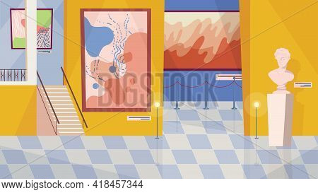 Museum Exhibition Room Interior, Banner In Flat Cartoon Design. Exhibition Of Paintings, Artworks, A