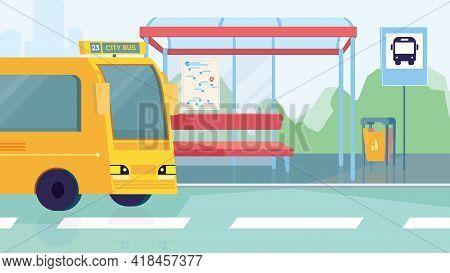 Empty Bus Station Interior, Banner In Flat Cartoon Design. Transport Stop, Seats, Yellow City Bus. M