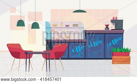 City Cafe Inside Interior, Banner In Flat Cartoon Design. Showcase With Desserts, Counter With Coffe