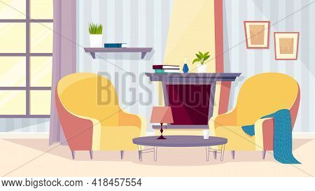 Old People Room Interior, Banner In Flat Cartoon Design. Living Room Inside With Cozy Armchairs, Pla