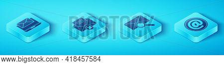 Set Isometric Laptop With Envelope, Delete Envelope, Mail And E-mail And Envelope With Magnifying Gl
