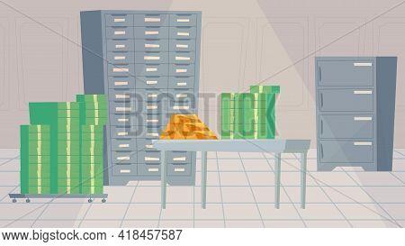 Safe Deposit Box Inside Interior, Banner In Flat Cartoon Design. Room With Lockers, Stacks Of Money