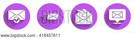 Set Envelope And Check Mark, Express Envelope, Envelope And Speech Bubble With Envelope Icon With Lo