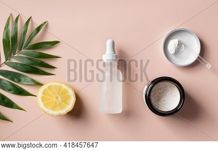 Flat Lay Composition With Anti-aging Powder For Preparing Serum With Vitamin C. Self-care Concept Sk