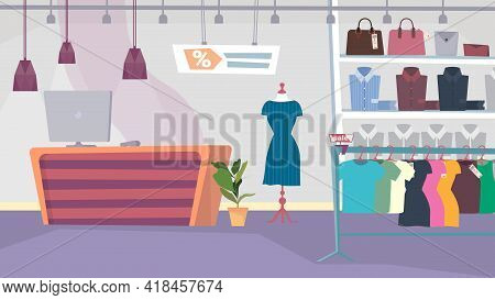 Clothes Shop Interior, Banner In Flat Cartoon Design. Boutique Showroom, Shelves And Hangers With Wo