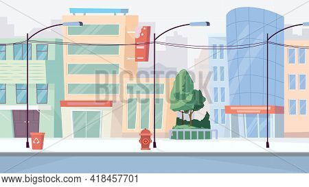 City Street View, Banner In Flat Cartoon Design. Cityscape With Skyscrapers, House Buildings, Sidewa