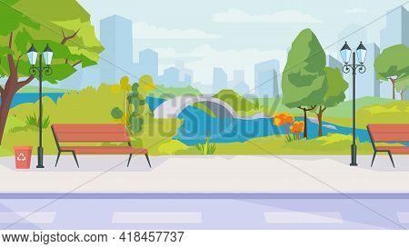 Summer City Park View, Banner In Flat Cartoon Design. Public Garden Or Square With Lake, Bridge, Ben