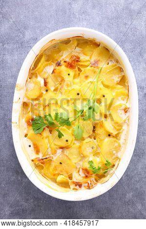 potato gratin with cream and cheese