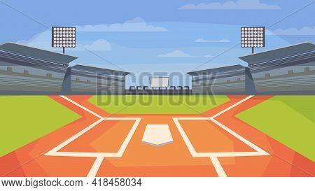 Baseball Stadium View, Banner In Flat Cartoon Design. Sports Center Field For Game, Base, Spotlights
