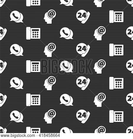 Set Telephone 24 Hours Support, Telephone, Telephone With Speech Bubble Chat And Mail And E-mail On