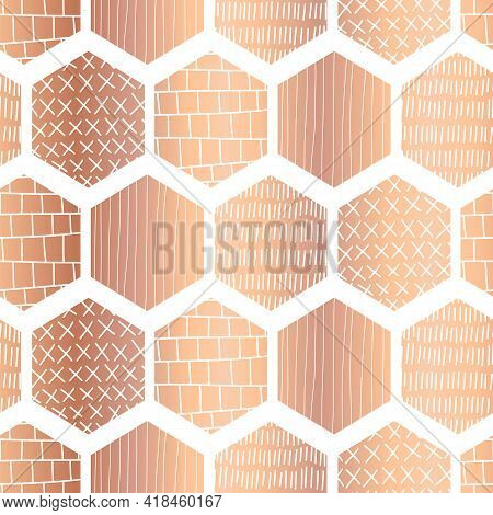 Copper Hexagon Seamless Vector Pattern. Metallic Rose Gold Foil Abstract Geometric Honeycomb Shapes