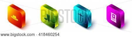 Set Isometric Western Cowboy Hat, Cowboy Boot, Pickaxe And Wanted Western Poster Icon. Vector