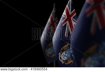 Small National Flags Of The Tristan Da Cunha On A Black Background