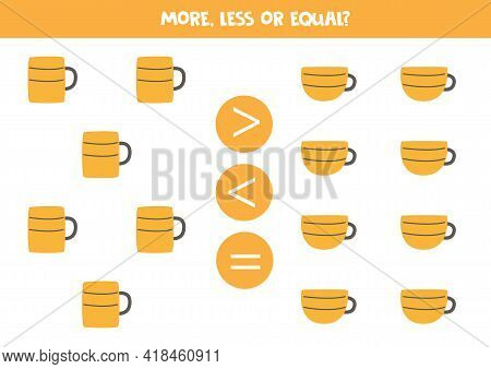 More, Less, Equal With Cute Mugs And Cups. Math Game For Kids.