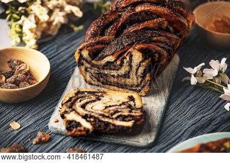 Swirl Brioche Or Chocolate Braided Bread On Wooden Board With Space For Your Text