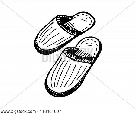 Sleeping Slipper Hand-drawn Sketch. Home Comfortable Shoes Pair Black And White Doodle. Two Slippers