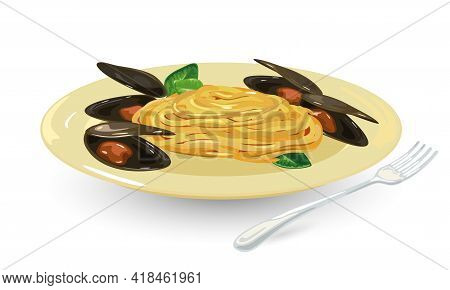Cartoon Of Pasta With Parmesan Cheese And Clams, Italian Cuisine. Vector Hot Meal In Yellow Plate, S
