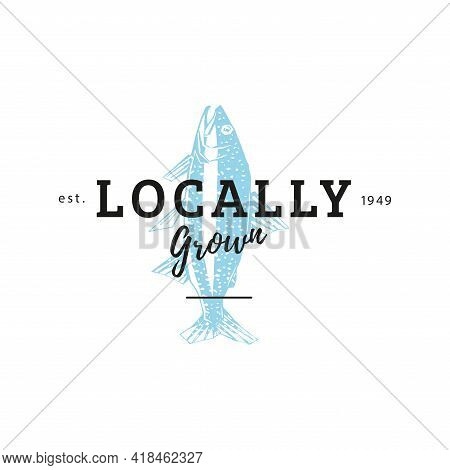 Trout In Vector. Logo With Locally Grown Lettering
