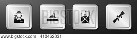 Set Hunter, Hat, Canteen Water Bottle And Sniper Optical Sight Icon. Silver Square Button. Vector