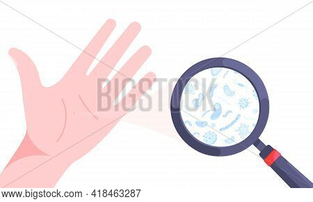 Germs, Bacterias And Viruses On Dirty Hand Palm Vector Illustration Isolated On White Background. Pa