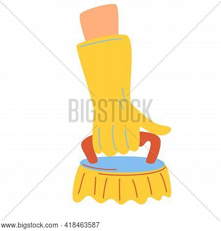Hand Holding Brush For Clean. Human Hand In Yellow Rubber Glove With Cleaning Tool. Cleaning Service