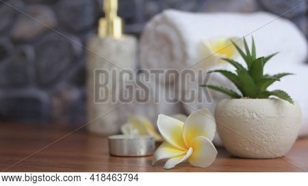 Close Up Of Plumeria Spa Accessories,beautiful Composition Of Spa , Spa Relax Concept,  Herbs For Ma