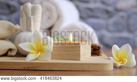 Spa Accessories,beautiful Composition Of Spa , Spa Relax Concept,  Herbs For Massage, Beautiful Sap