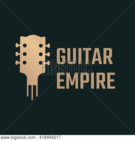 Acoustic guitar icon flat design in black and gold, GUITAR EMPIRE