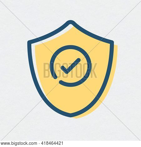Tick mark shield icon protection symbol
