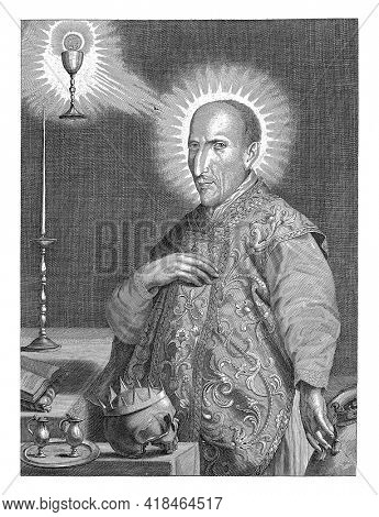 The Jesuit Franciscus Borgia standing at two tables on which: crowned skull, tray with two pitchers, book and a candlestick. Top left a chalice with a host