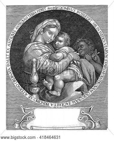 Mary with the Christ Child and John the Baptist, set in a circular frame with text. Under a cartouche with a four-line Latin text.
