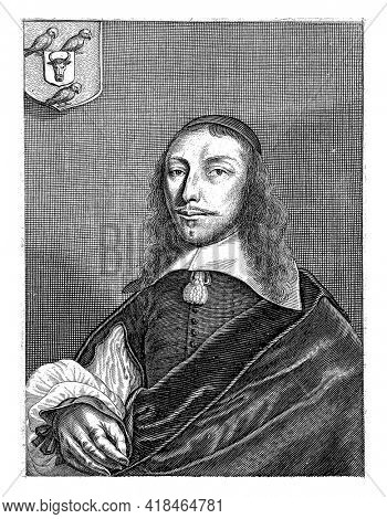 Portrait of the Dortmund poet Cornelis van Overstege. He is depicted half-length with a headdress, a flat white collar and a cloak. Top left his coat of arms.