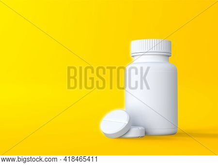 Pills And Pill Bottle On Yellow Background With Copy Space. Medicine Concepts. Minimalistic Abstract